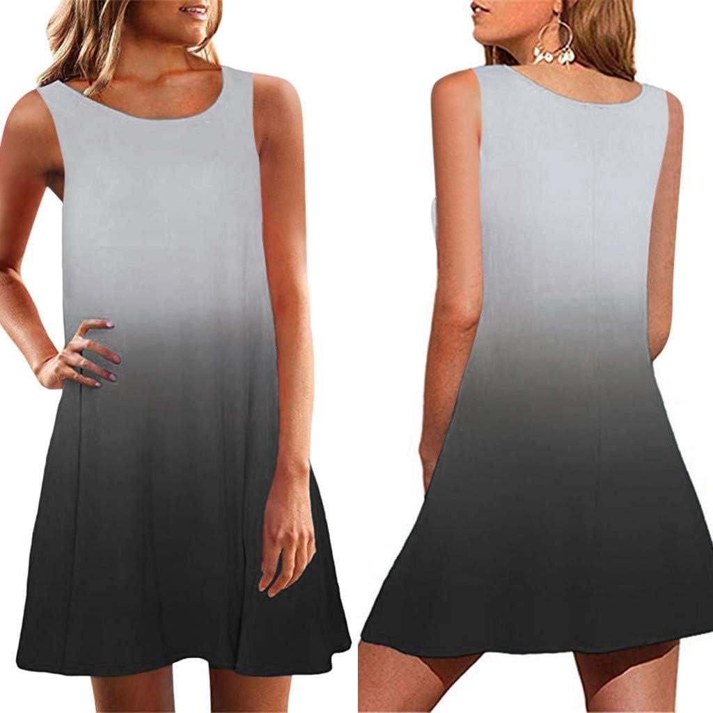 Womens Summer Mini Dress FinDaDa Dress Women Tunic Dress Short Sleeve Crew Neck Casual Loose Fitting Gradient Dresses Sleeveless O-Neck Loose Fitting Gradient Dresses