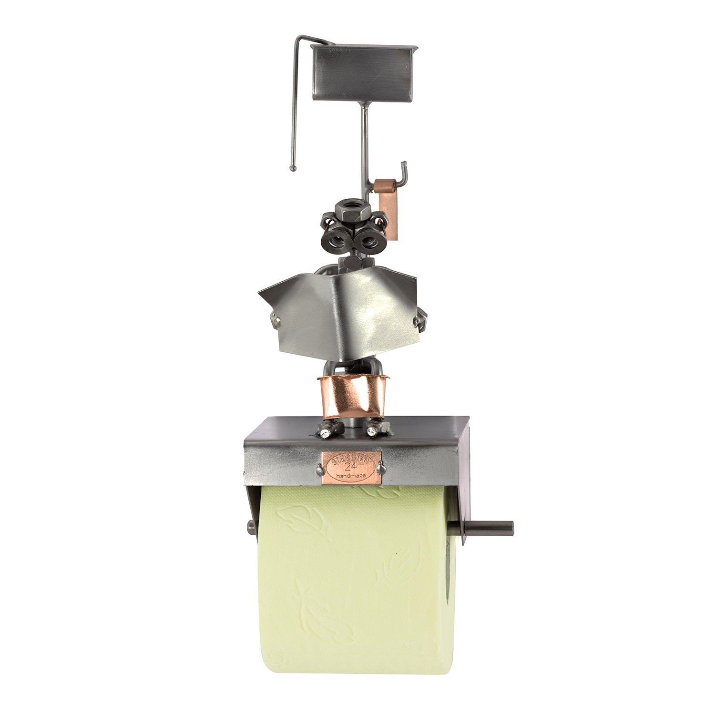 Steelman24 I Figurine en m/étal Support pour Papier Hygi/énique avec Journal I Made in Germany I Id/ées Cadeaux I Sculpture d/'Acier I Hommes de m/étal