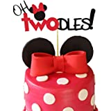 Minnie Mouse Second Birthday Cake Topper,Oh TwoDles Birthday Party Supplies Decorations For Girl(Red)