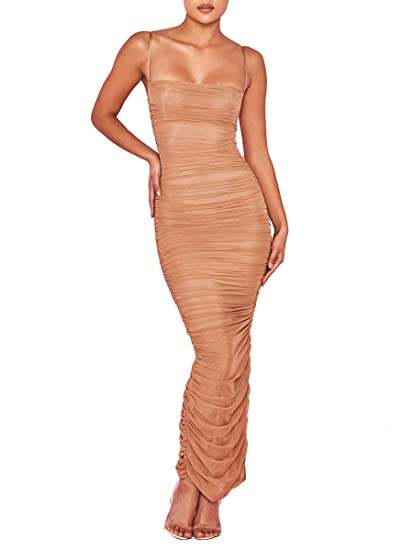a06e250b50 Tina Beauty Beige Kylie Jenner Strapy Sleeveless Ruched Stretch Organza  Mesh Satin Maxi Bodycon Dress