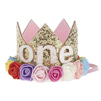 One Year Old Baby Princess Tiara Crown Girls Kids First Birthday Hat Sparkle Gold
