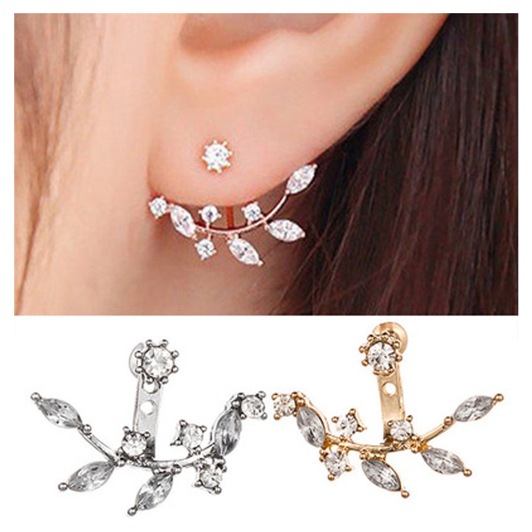 Simple Ear Jacket Leaf Feather Crystal Rhinestone Dangle Stud Earrings Rose Gold Silver Tone for Girls CHICY CH071104