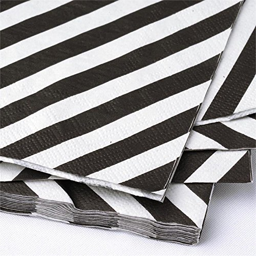 BalsaCircle 100 pcs 13-Inch White Stripes on Black Paper Napkins - Decorative Luncheon Party Events -