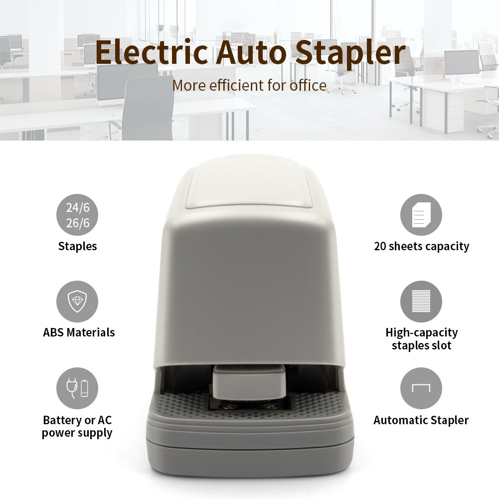 VOOPII Electric Stapler, Heavy Duty Stapler Office Supplies 20 Sheet Capacity Including Staples for Professional and Office by VOOPII (Image #2)