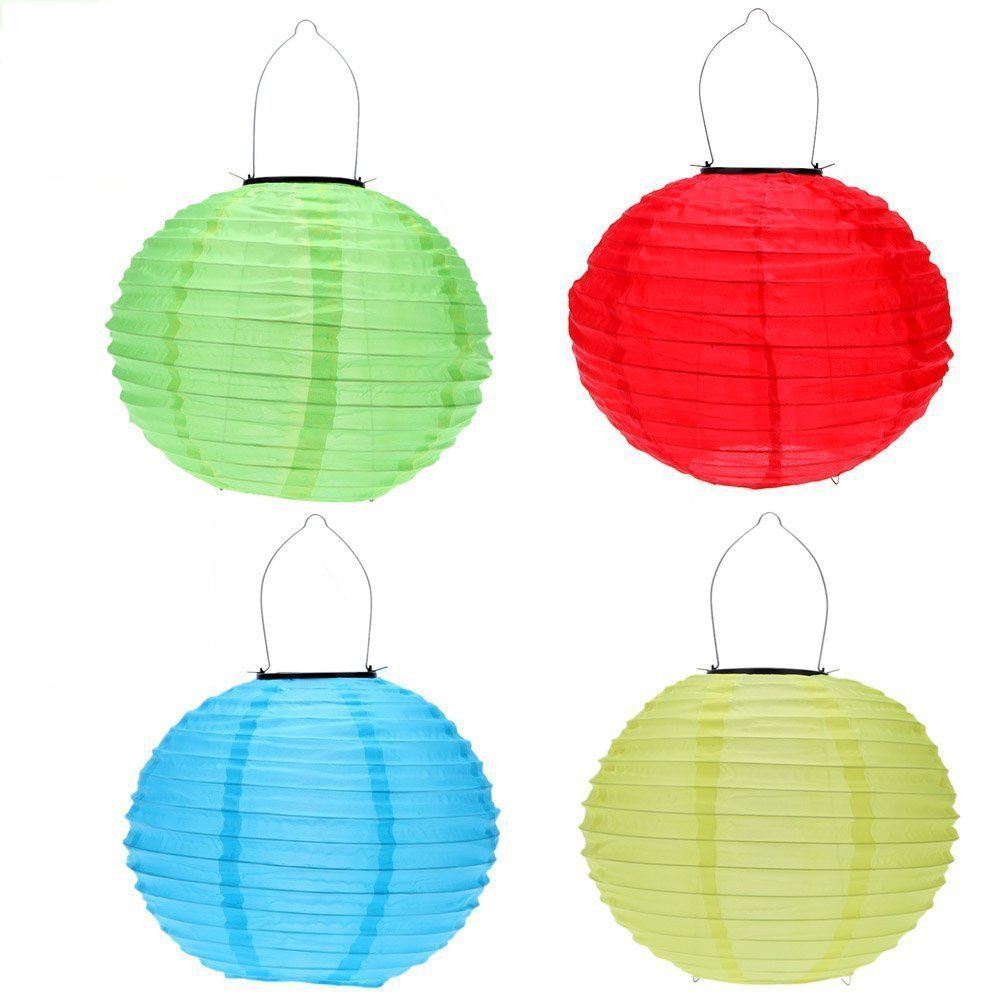 RioRand Chinese waterproof outdoor garden solar hanging LED light lanterns (Red/green/blue/yellow) by RioRand (Image #1)