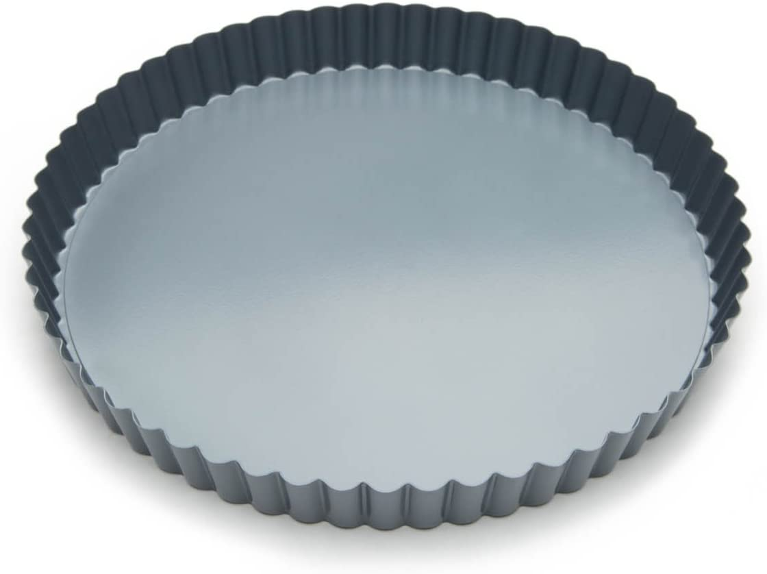 KISWIN 10 Inch Heavy Duty Tart Pan with Removable Loose Bottom Round Nonstick Quiche Pan Fluted Tart Tin Baking Mold Carbon Steel