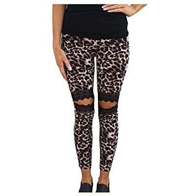 ANJUNIE Ladies Yoga Hollow Leopard Leggings Lace Splicing Running Yoga Trousers Outwork Pant: Clothing