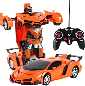 Transform Car Robot, One-Button Remote Transformer RC Toy Car 360 Speed Drifting Robot Remote Control Car Kids Toy Gift, Orange