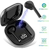 Wireless Bluetooth 5.0 Earbuds Headset Mini in-Ear Noise Canceling Sport Headphones with Charging Case,TWS Stereo Touch Control Waterproof Earphones Built-in Mic for Workout/Running/Gym (Black)