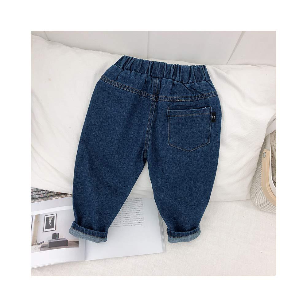 Phorecys Baby /& Little Boys//Girls Elastic Waist Cute Denim Jeans Pants