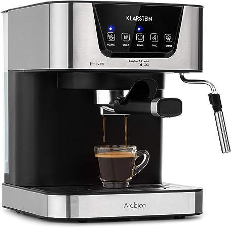 Klarstein Arabica Cafetera de espressos - 1050 W de potencia, 15 bares, Depósito de 1,5 litros, Pantalla LED digital, Rejilla lavable, Espumadera, Depósito de agua extraíble, Acero inoxidable: Amazon.es: Hogar