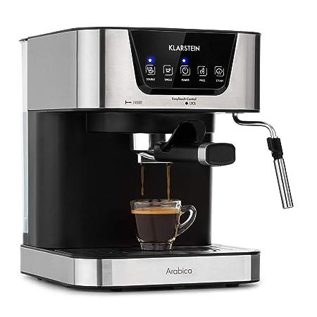 Klarstein Arabica Cafetera de espressos - 1050 W de potencia, 15 bares, Depósito de 1,5 litros, Pantalla LED digital, Rejilla lavable, Espumadera, ...