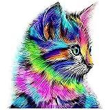لوحة فنية بتصميم قطة ملونة تزينها بنفسك بمجموعة قطع أحجار ماسية خماسية الابعاد لديكور المنزل والحائط مقاس 30×30 سم