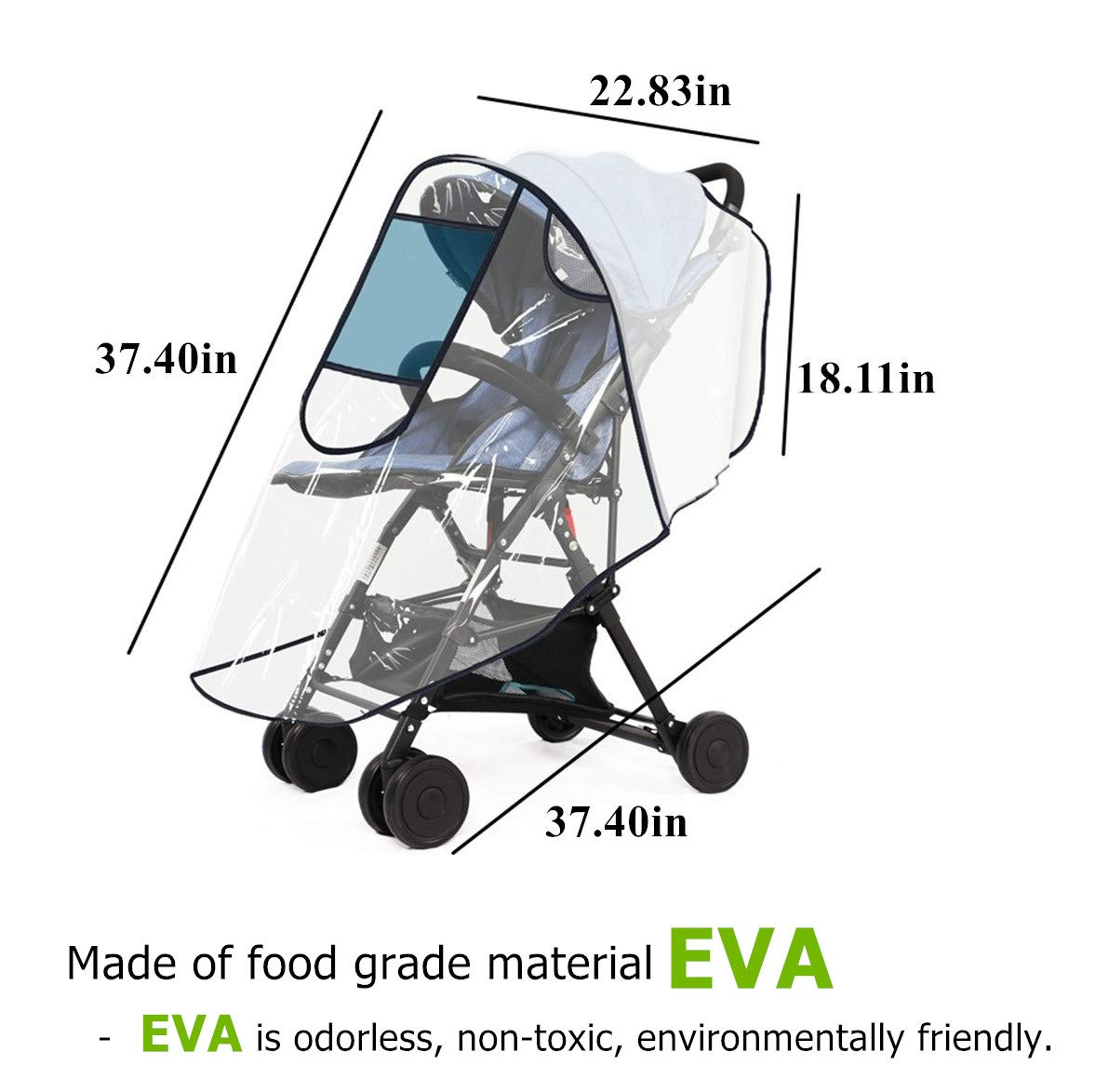 Universal Baby Stroller Rain Cover for Most Pushchair Pram Buggy with UV  Protection Window Zip Front
