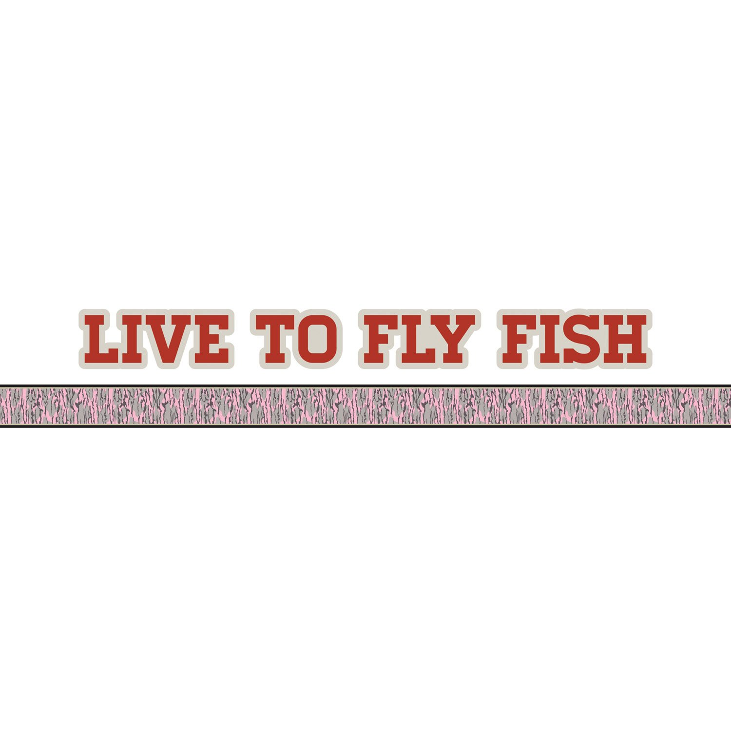 Mossy Oak Graphics 10012-FL-BLP Bottomland Pink Live to Fly Fish Logo with Camouflage Pin Stripe