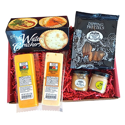On Sale Now! Specialty Gourmet Snack Gift Basket - features 100% Wisconsin Cheeses, Crackers, Pretzels & Mustard | Great for tailgating and football parties! Perfect Gift!