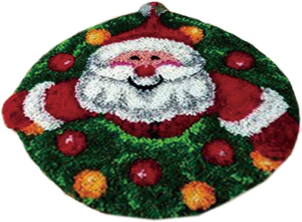 Latch Hook Kits DIY Rug Christmas Embroidery Santa Claus Pattern Printed for Family Christmas Decoration Christmas Ornament Carpet Handcraft Crochet Kits