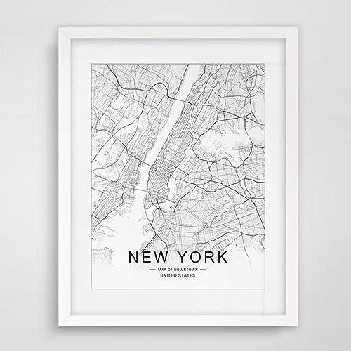 Amazon Com New York City Downtown Map Wall Art New York Street Map