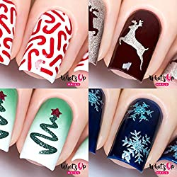 Whats Up Nails - Christmas Nail Vinyl Stencils 4 pack (Candy Canes, Ribbon Tree, Deer, Gold Merry Snowflake) for Nail Art Design