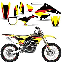 2004-2006 Suzuki RMZ 250 Full Decal Kit with Number Plates and Rim Trim Design Yellow Red Black