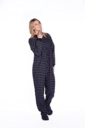 d7fe6f8250 Black    White Plaid Cotton Flannel Onesie Adult Footed Pajamas  w  Drop-seat 102-DS