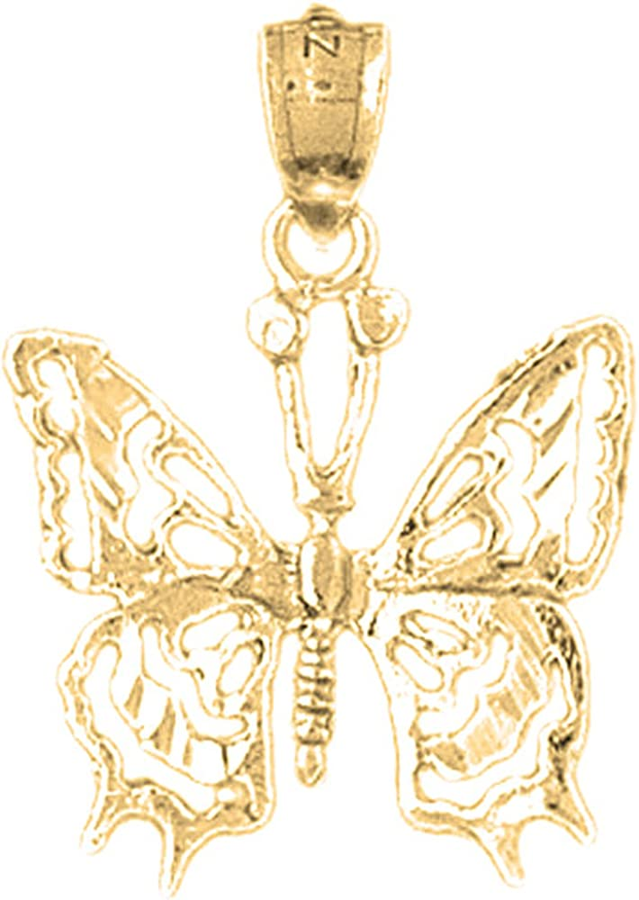 Jewels Obsession Butterflies Pendant 25 mm 18K Yellow Gold Butterflies Pendant