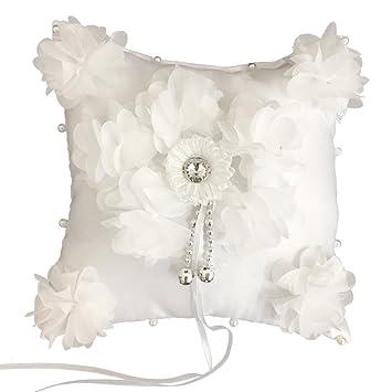 Luoem - Almohada de encaje para anillo de boda con perlas de ...