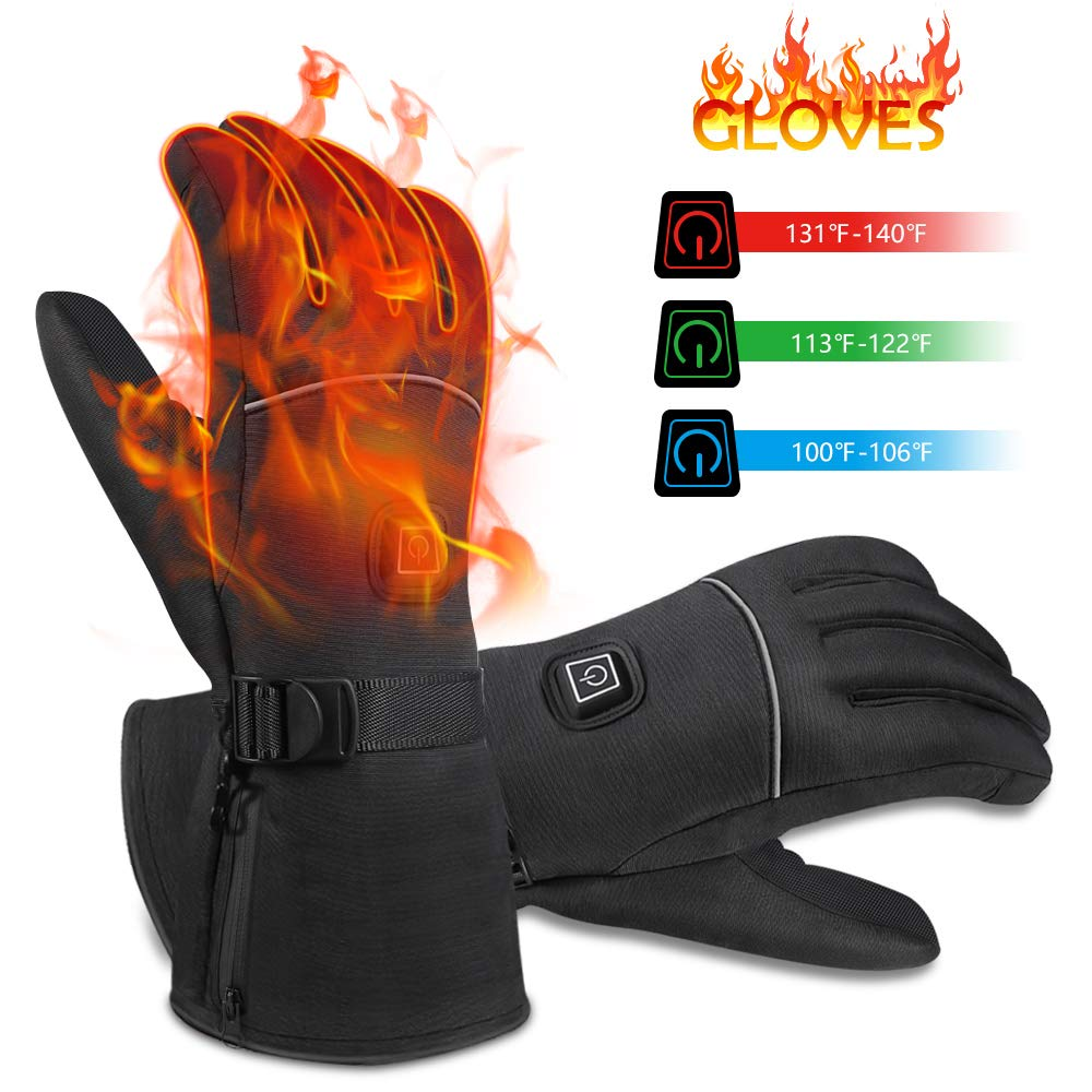 Winter Heated Gloves,Hand Warmers with 3 Levels Temperature Control,Battery Powered Hand Warmer Waterproof Gloves for Outdoor Sports Skiing Cycling Riding Hunting Fishing by NEWXLT