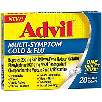 Advil Multi-Symptom Cold & Flu Coated Tablet 200 mg Ibuprofen, 20 Count