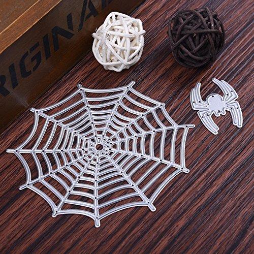 JD Million shop 2pcs/Set Halloween Metal Cutting Dies Stencil for Scrapbooking Spider&Net Diy Craft Stencils And Embossing for Paper Craft (Spider Cheese Ball Halloween)