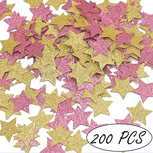 (Glitter Stars Confetti Girls Birthday Baby Shower Decorations Princess Theme Confetti, Pink and Gold, 200ct)