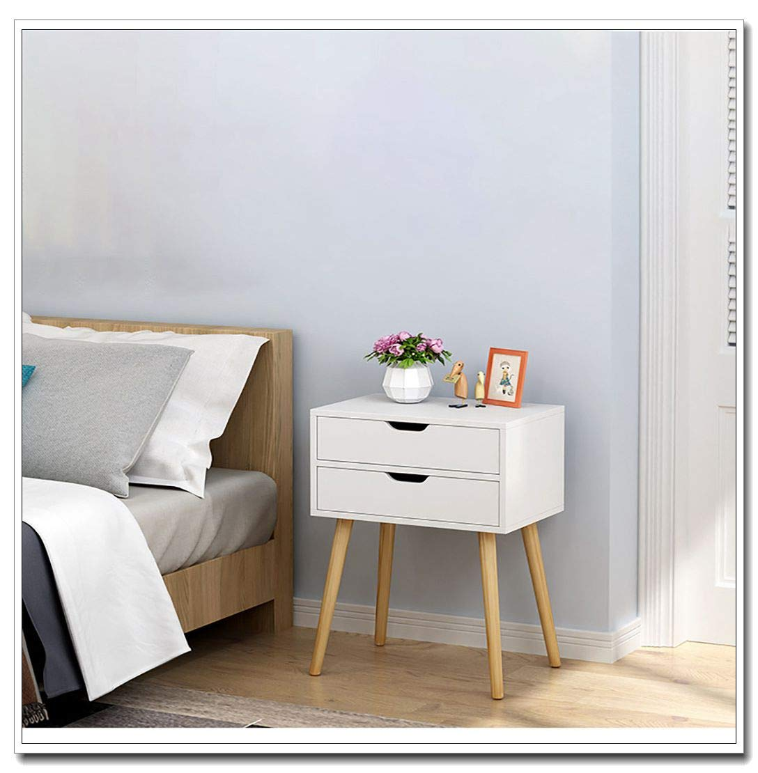 cnnIUHA Creative Modern Nightstand Bedside Cabinet End Table, Solid Wooden Legs,Easy Pull Bins - Assemble Organizer Unit Furniture for Bedroom, Closets - 2 Drawers(Shipped from USA) (A)