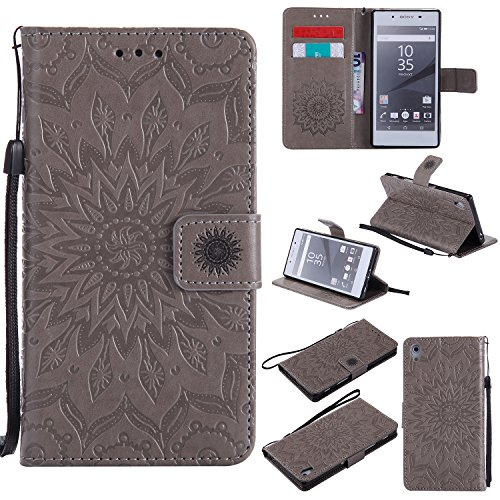 Crystal Slider Case (Xperia Z5 Wallet Case,A-slim(TM) Sun Pattern Embossed PU Leather Magnetic Flip Cover Card Holders & Hand Strap Wallet Purse Case for Sony Xperia Z5 - Gray)