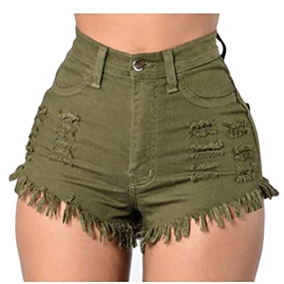 Abetteric Women's Club Summer Hot Pants Hole Sexy Push Up Shorts Jeans