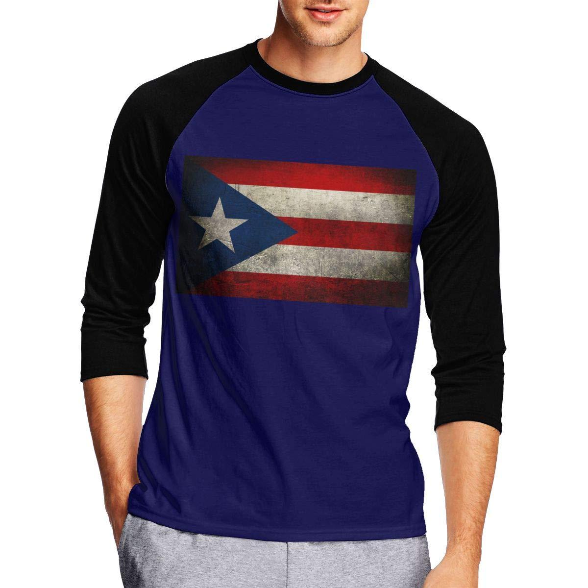 DFGHJZH-L Retro Puerto Rican Flag Mens Cool Adult Long-Sleeved T-Shirt