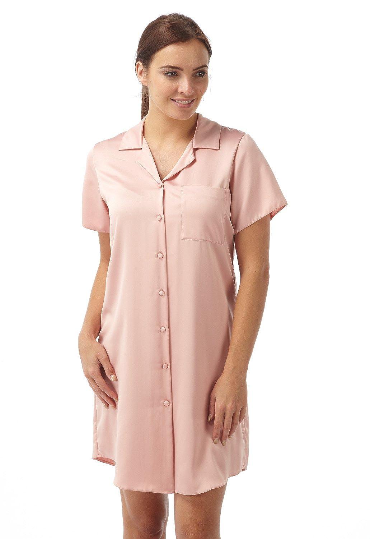 Camicia da notte con abbottonatura sul davanti in satin colore rosa
