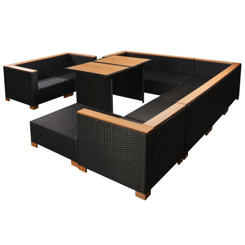 Amazon.com: Garden Lounge Set 32 Pieces Poly Rattan WPC Top ...