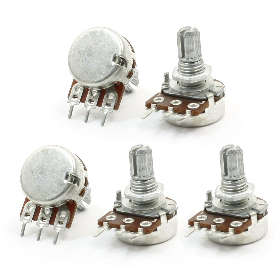 Silver 5-Piece Sourcingmap 6 mm 5 kOhm Shaft Type B Single Turn Taper Rotary Potentiometer