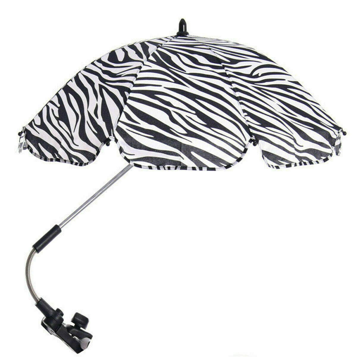 Global Supplies Present Flexible Baby Sun Umbrella Parasol Buggy Pushchair Shade in Zebra