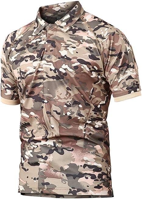 Polo De Manga Corta Para Polo De Hombrepolos,Camisa Polo Táctica Militar De Color Caqui Hombres Camuflaje De Verano Camuflaje Polo Hombre Transpirable De Secado Rápido Brazo Bolsillo Polo Shirts, L: Amazon.es: Deportes