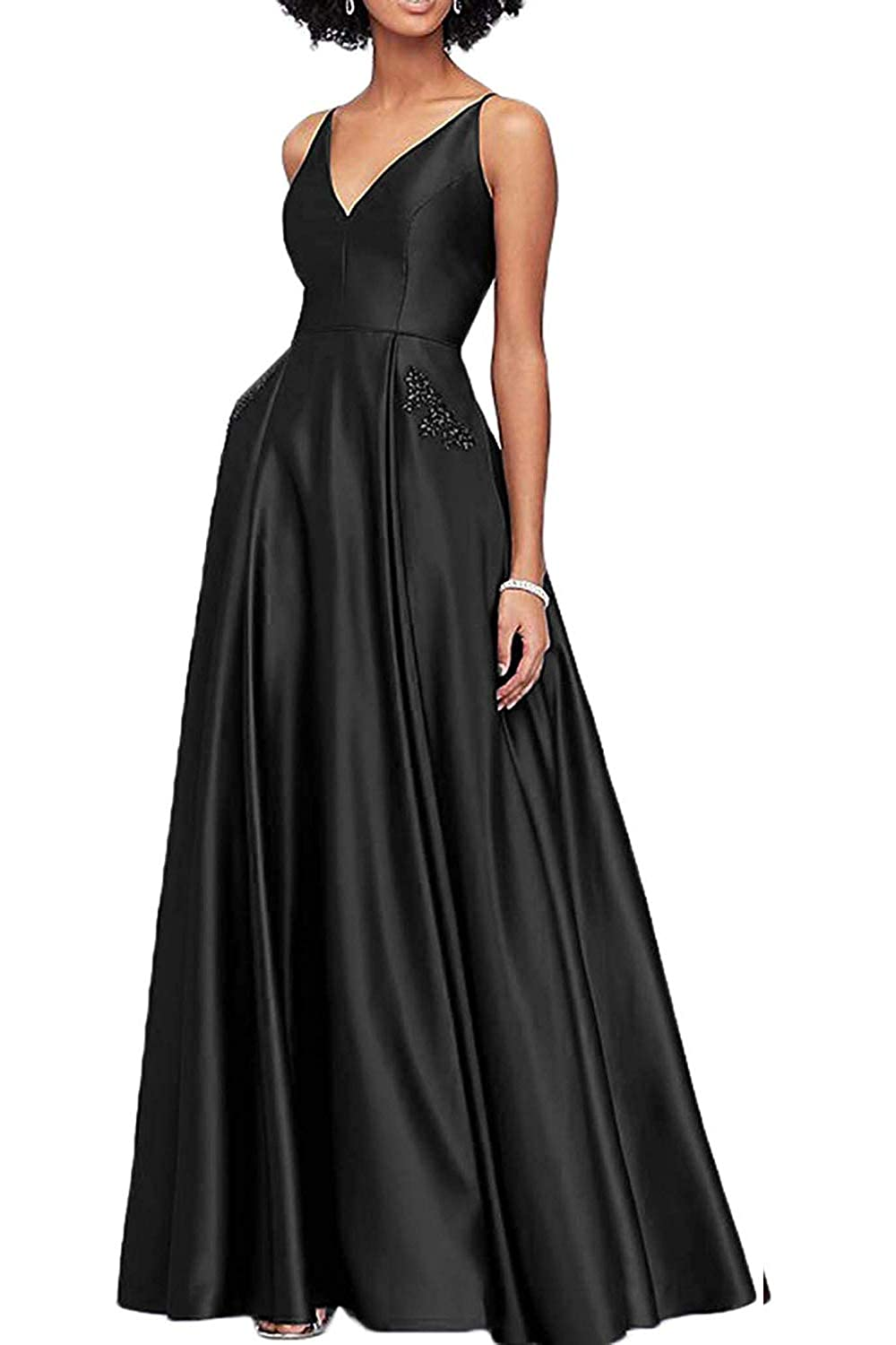 Black WHLWHL Beaded Long Ball Gown Prom Dresses for Women 2019 Satin V Neckline with Pockets