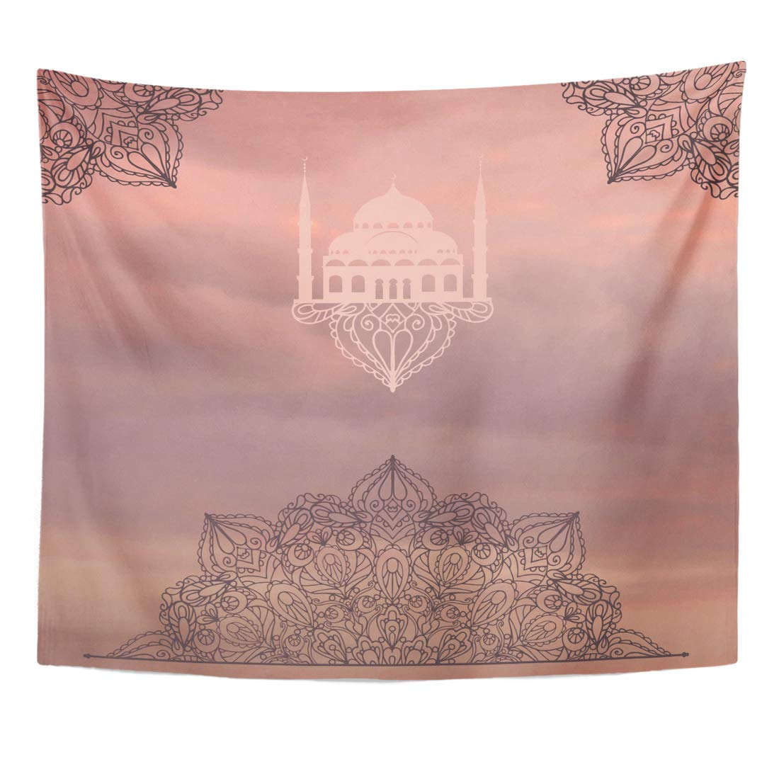Angoni Tapestry Arabic Mandala Vintage Sunset Sky East Indian Thai Motifs Ethnic Orient Symmetry Lace Holiday Dusty Home Decor Wall Hanging for Living Room Bedroom Dorm 50x60 inches
