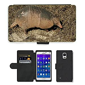 Super Stella Cell Phone Card Slot PU Leather Wallet Case // M00107749 Armadillo Animal Ground Wildlife // Samsung Galaxy Note 4 IV