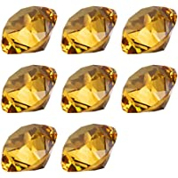 LONGWIN 30mm(1.2 inch) Crystal Diamond Themed Dinner Party Table Decoration Party Favors Gift for Kids Pack of 8 (Amber)