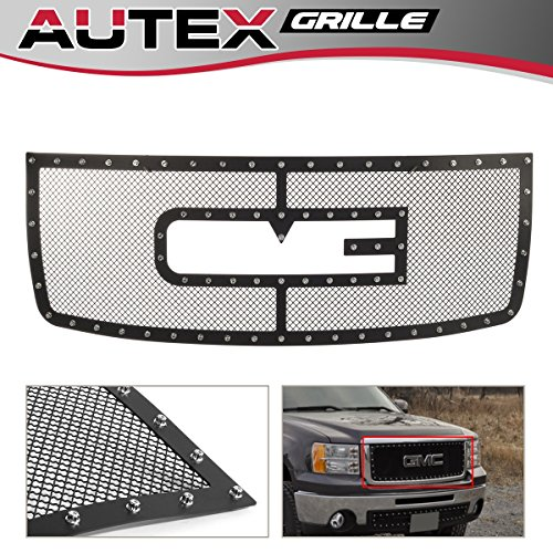 AUTEX Rivet Style Mesh Grille Compatible with GMC Sierra 2500HD/3500HD 2007 2008 2009 2010 with Logo Show Main Upper Grill Insert Stainless Steel GL6516H