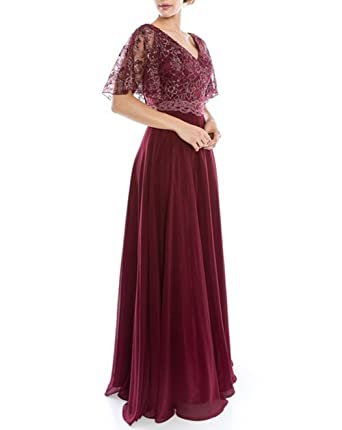XSWPL Burgundy Mother of the Bride Prom Dress Maxi Long Gown US2
