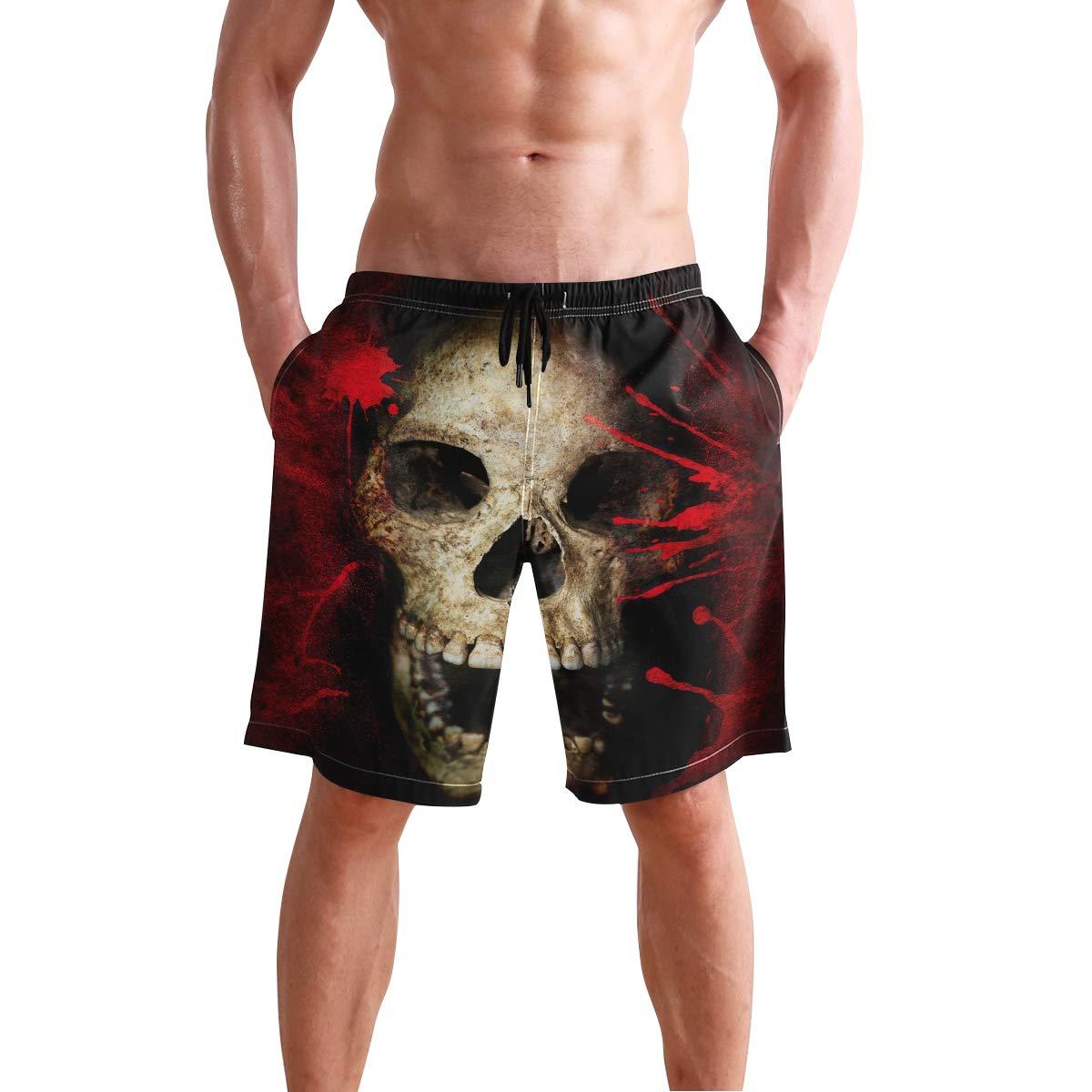 Skull Blood Mens Trunks Beach Board Shorts Drawstring Waist Mesh Lining