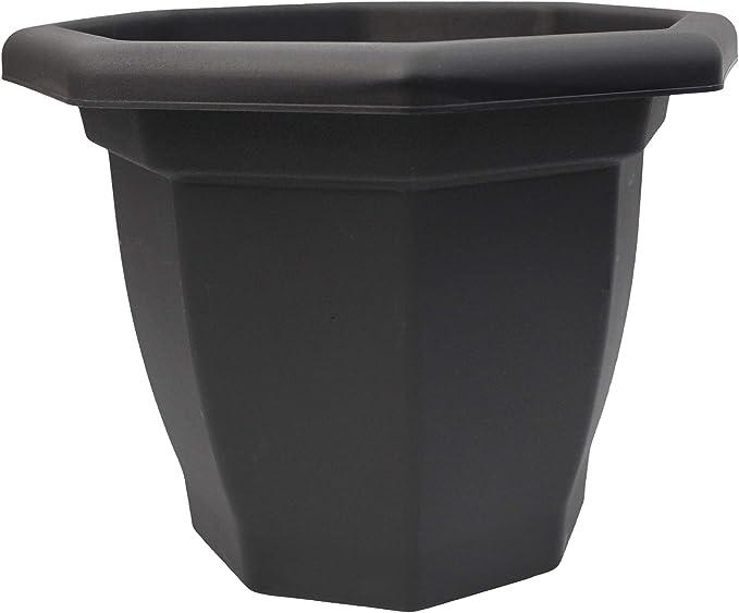 2x 58cm LARGE VENETIAN ROUND PLANTER BLACK GARDEN HOME LARGE PLASTIC POT IN OUT