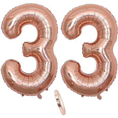 """2 Globos Número 33 Años, Number 33 Globo Chica de oro rosa, 40""""Figuras de globos con globo de lámina de helio inflable, Globo gigante para la decoración de la fiesta de cumpleaños, Prom (xxxl 100cm): Juguetes y juegos"""