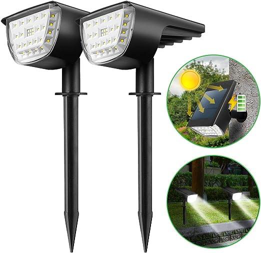 KINGSO 2 piezas de luces solares para exteriores 12 LED 3 modos, lámpara solar jardín IP65 impermeable encendido/apagado del coche, luces solares de jardín luz solar para jardín, patio, camino: Amazon.es: Iluminación
